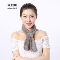 YCFUR Real Mink Scarves Women Simple Style Short Scarf Neckerchief Girls Knit Mink Fur Neck Warmer Scarf Female