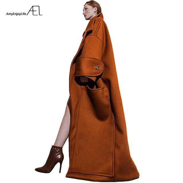 AEL Winter womens Coat plus thick Oversize Big Turndown Collar Woolen Overcoat Hight Quality Female Camel Wool Coat Plus Size