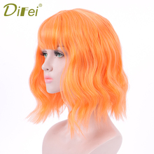 DIFEI 12 Synthetic Short Wavy Mix Purple Wigs with Bangs for Women African American Female Heat Resistant Fiber