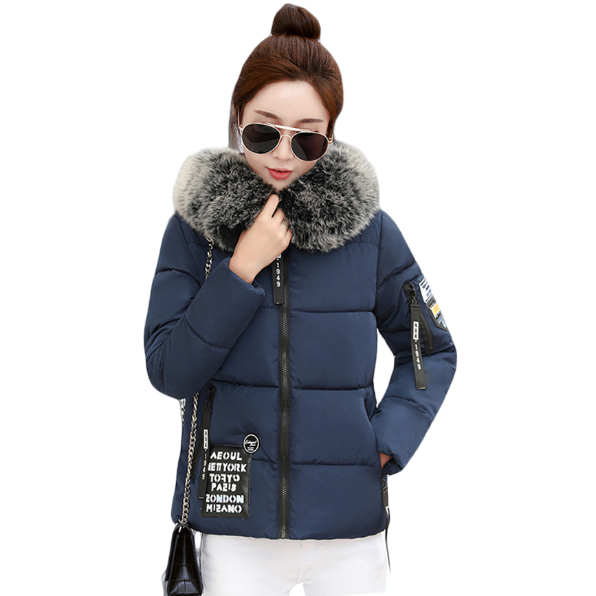 New Fashion Autumn Winter Jacket Women Large Faux Fur Collar Hooded Down Cotton Coat Female Short Slim Parkas Plus Size CM1723 2016 new fashion autumn winter women basic jacket coat female slim hooded brand cotton coats