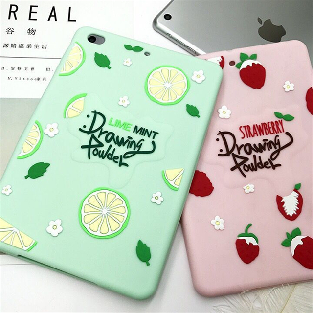 Свежий летний чехол с рисунком клубники лимона для iPad Mini 1 2 3 Мягкий силиконовый чехол для iPad mini1 mini2 mini3 7,9