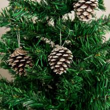 6PCS 5CM Christmas Tree Decoration Pine Cone Pendant Natural Dyed White Small Ornaments
