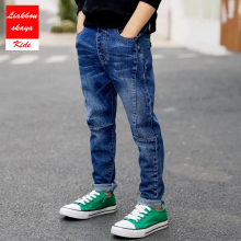 Liakhouskaya/Коллекция года, новые модные штаны для мальчиков детские джинсы для подростков, джинсы для мальчиков детская повседневная одежда из хлопка детские штаны, для детей возрастом от 4 до 15 лет