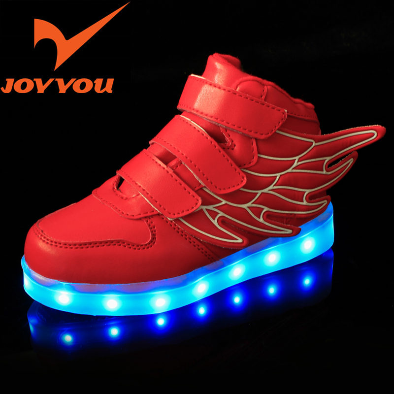 JOYYOU Brand USB Children Boys Girls Glowing Luminous Sneakers Teenage baby Kids Shoes With Light Up Led wing School Footwear 25 40 size usb charging basket led children shoes with light up kids casual boys