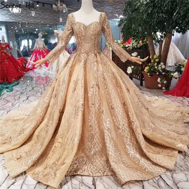 Goud Luxe Lange Mouwen High End Trouwjurken 2020 Handgemaakte Bloemen Lovertjes Bruid Bruidsjurken Real Photo Custom Made