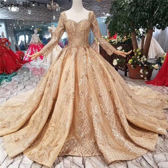 หรูหราทองแขนยาว High end ชุดแต่งงาน 2020 Handmade ดอกไม้ Sequined Bride ชุดแต่งงาน Real Photo CUSTOM Made