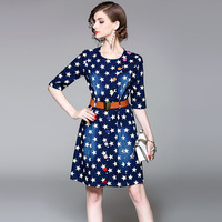 An Luoqi 2017 European Women Station Early Autumn Tee Sleeve Single Breasted Star Thin Cowboy Dress