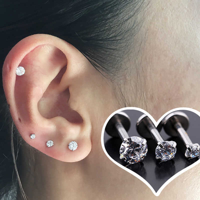 3pcs Set Cubic Zirconia Tragus Piercing Stud Flat Back 16g Cartilage Stud Cartilage Helix Earring Clear Crystal Tragus Stud