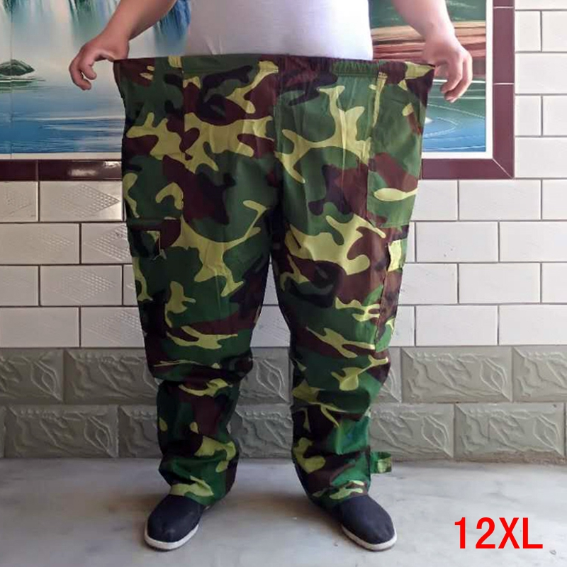 Large Size Men's Pants Elastic Band Plus Size 9XL 10XL 11XL 12XL Summer Large Loose Elastic Army Green Large Size Pants Sports
