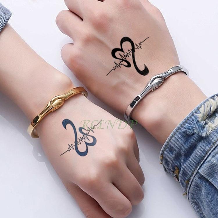 Us 0 49 Waterproof Temporary Tattoo Sticker Wave Love Heart Fake Tatto Flash Tatoo Tatouage Wrist Foot Hand Neck For Girl Women Men In Temporary