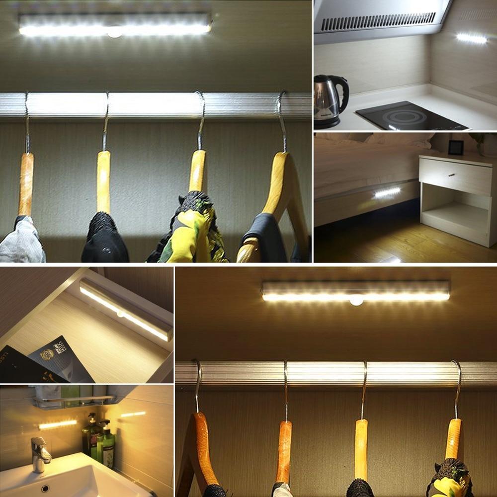 Pir Motion Sensor Led Cabinet Light Detachable Hook 1m 2m 3m Strip Under Bed Lamp Closet Wardrobe Stairs Night In Lights From