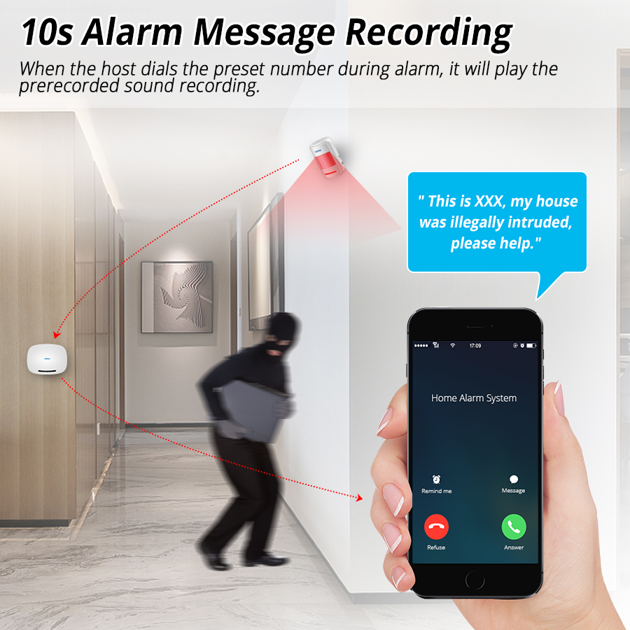 Image 4 - KERUI W19 Wireless Phone APP Remote Control Message Push Auto Dial Home Security GSM Alarm System with IP Camera Solar Siren Kit-in Alarm System Kits from Security & Protection