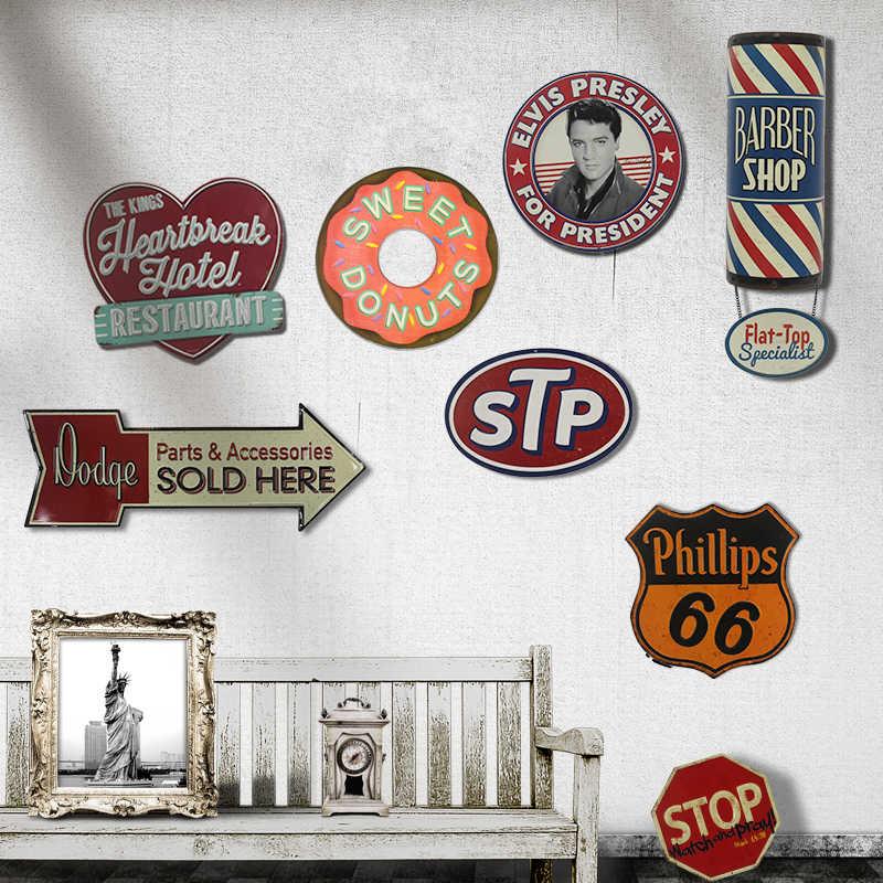 Retro American Special Shade Las Vegas Tin Signs STP Pinball Seafood Brakes  Barber Bar Vintage Decor Wall Art Metal Signs YN090
