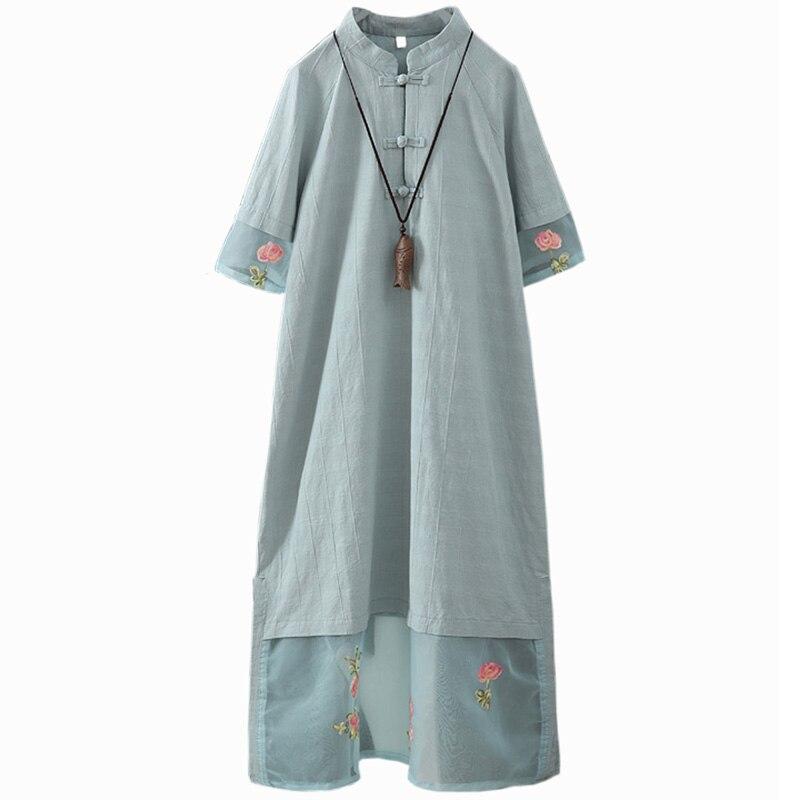 Robe femme 2019 printemps coton et lin broderie maille longue robe Style chinois été Floral Stand a-ligne robe femmes