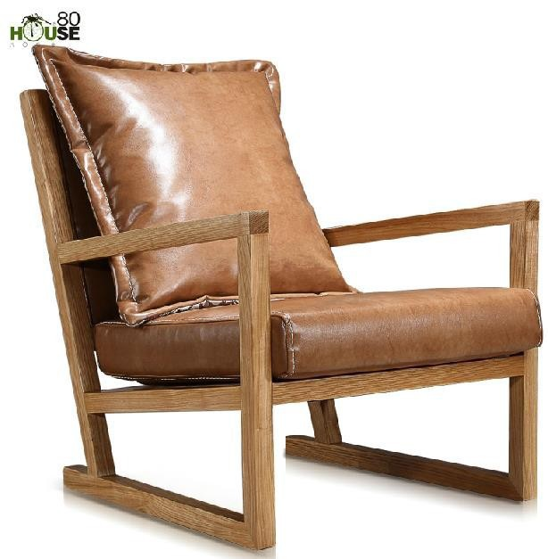 Charmant Simple Modern Furniture / Solid Wood Leisure Chair / Leather Art Single  Sofa Chair In Balcony
