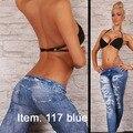 Envío gratis Sexy Denim leggings Seamless moda para adelgazar Jeggings damas pantalones envío gratis