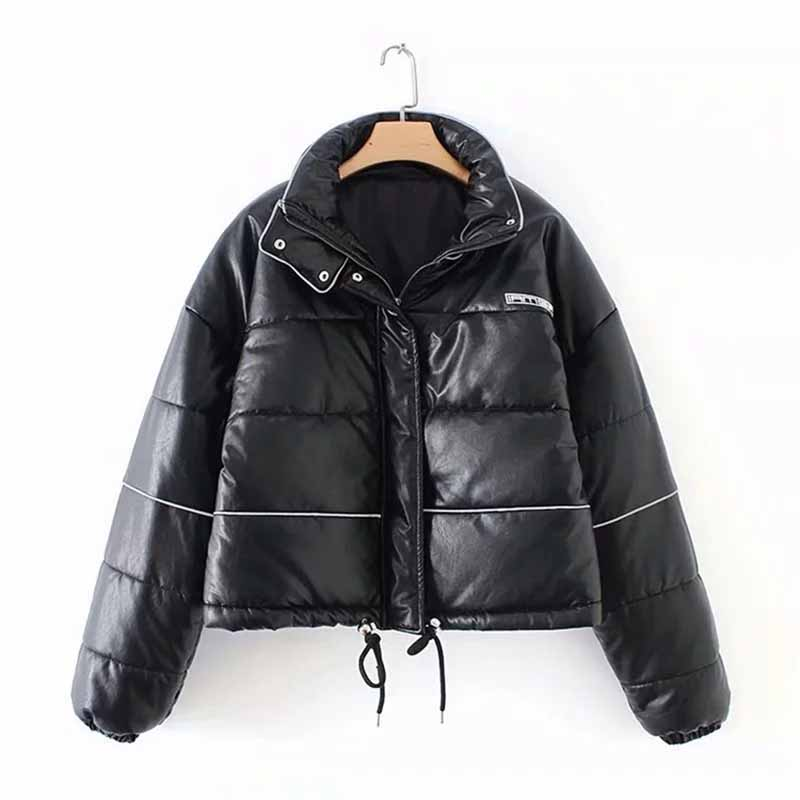 2019 Fashion Winter Short Parkas Women Faux   leather   Down cotton jacket Stand collar Thicken Students Cotton Coat Plus size G487