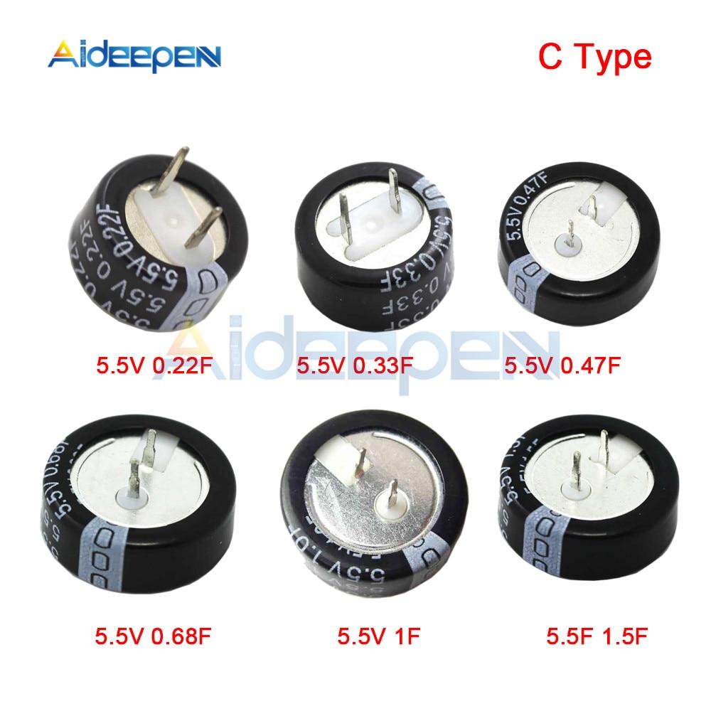 5PCS/LOT 5.5V 0.22F 0.33F 0.47F 0.68F 1F 1.5F Farad Capacitor 5.5v