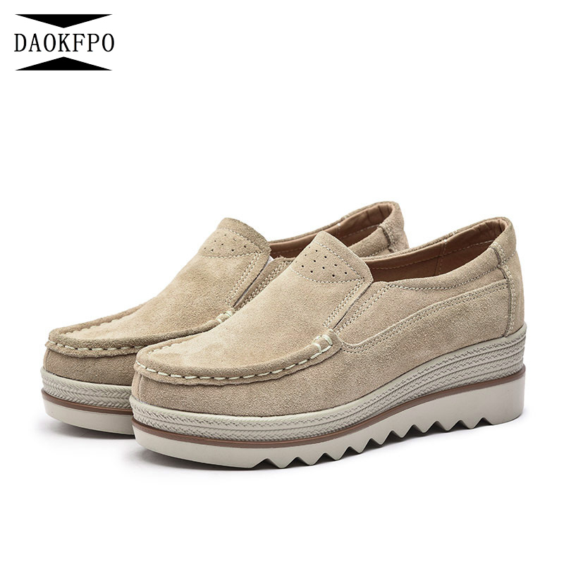 DAOKFPO 2018 Spring Women Flats Shoes Platform Sneakers Shoes   Leather     Suede   Casual Shoes slip on flats heels creepers moccasins
