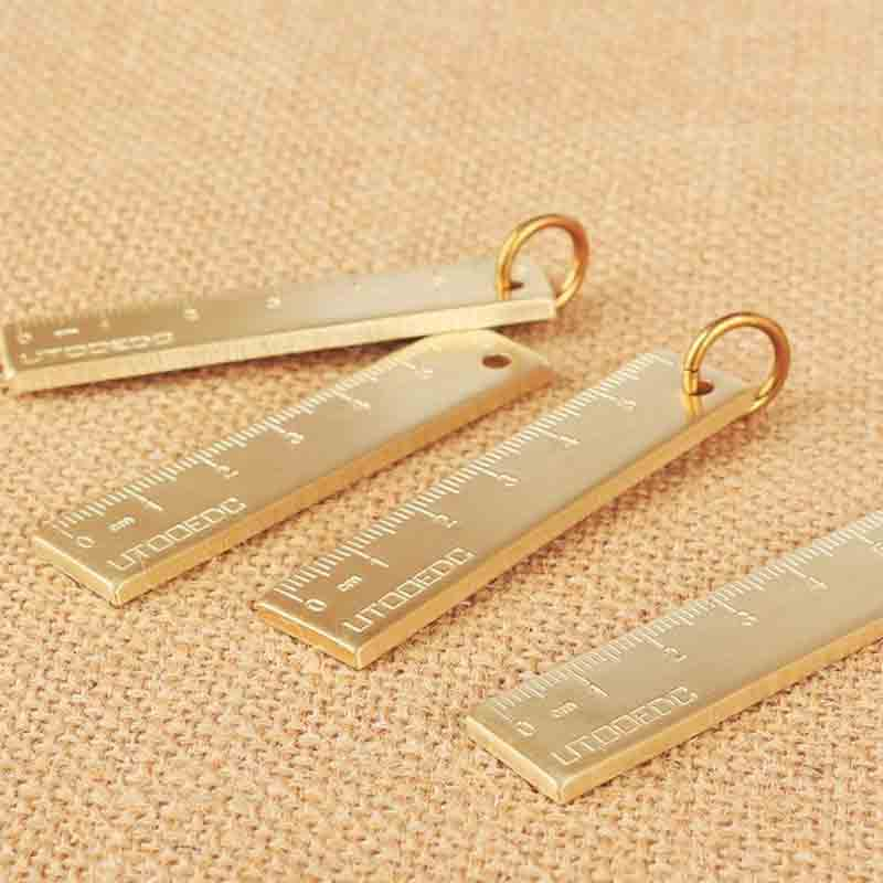 1 Pcs Hot Sale Retro Brass 6cm Ruler Mini Drawing Rulers Copper Painting Template The Office School Supplies Stationery Items