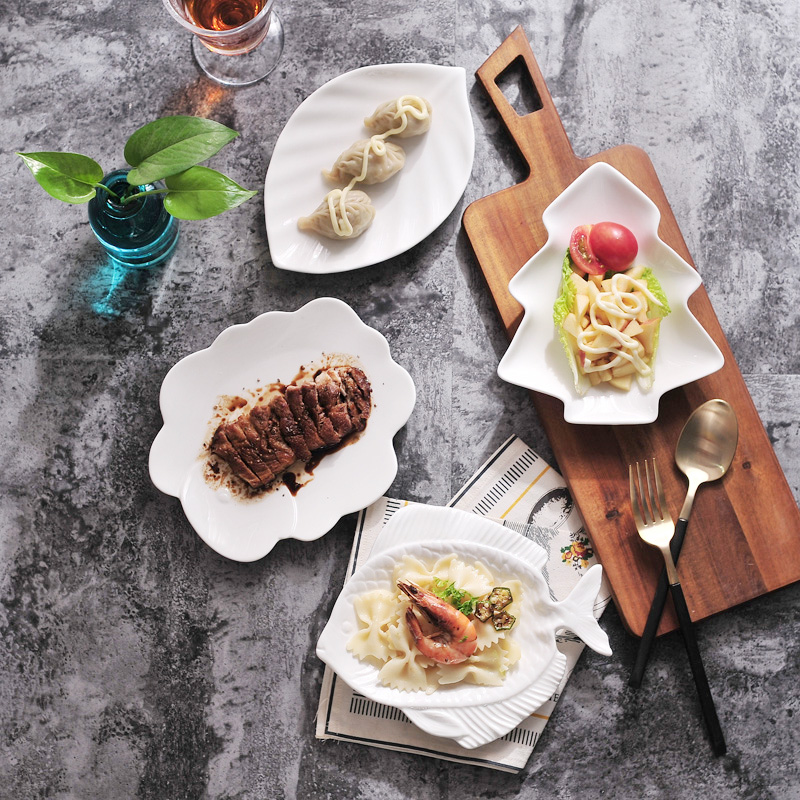 Western Sweet Dishes Recipes: 2PCS Cute Modern Dishes Ceramic Cake Dessert Snacks