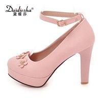 Daidiesha элегантный цветок Для женщин-лодочки на высокой платформе черный, белый, розовый цвет одноцветное Туфли с ремешком и пряжкой пикантны...