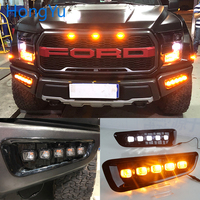Car flashing LED DRL Daytime Running Light Daylights for Ford Raptor SVT F150 2016 2017 2018 With Yellow Turn Signal lamp