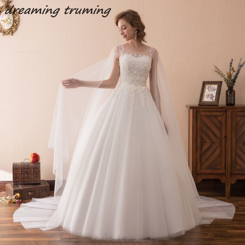 Romantic White Ivory Wedding Dress 2018 With Long Cape