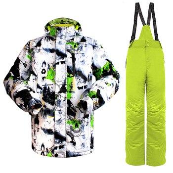 Men Ink Paint Warm Professional Ski Suit Waterproof Breathable Ski Jacket Snowboard Jacket+Pants Suit kayak suit