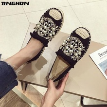 TINGHON Luxurious Fashion Women Ladies Espadrille Shoes Canvas Rhinestone Flower Hemps Fisherman Flats