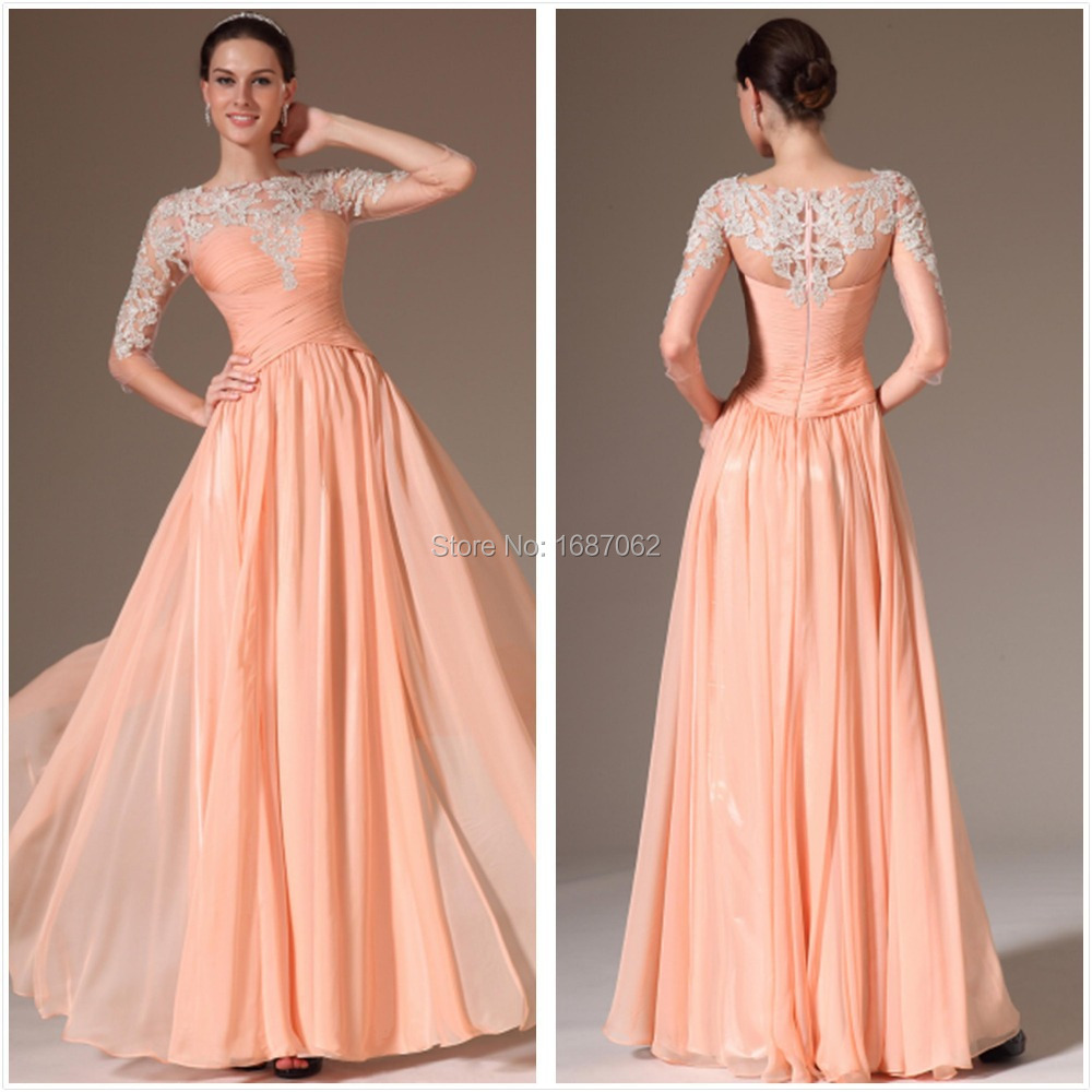 Aliexpress.com : Buy Long Bridesmaid Dresses Prom Dresses With 3/4 ...