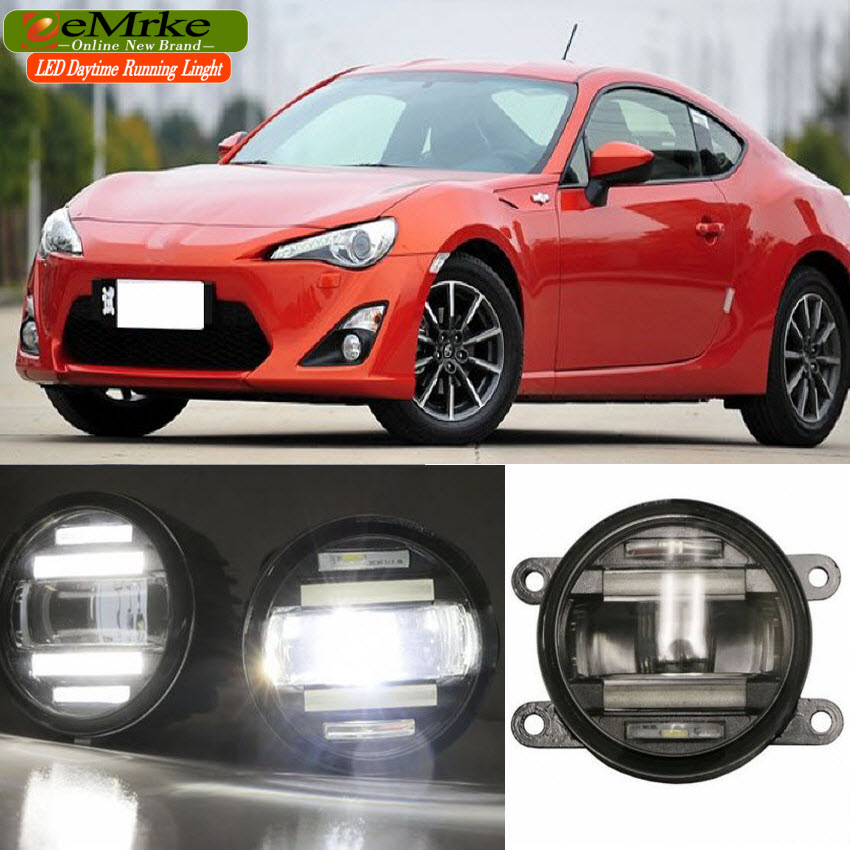 eeMrke Xenon White High Power 2in1 LED DRL Projector Fog Lamp With Lens For Toyota GT 86 FT 86 Scion FR-S 2012-2016 eemrke xenon white high power 2 in 1 led drl projector fog lamp with lens daytime running lights for renault kangoo 2 2008 2015