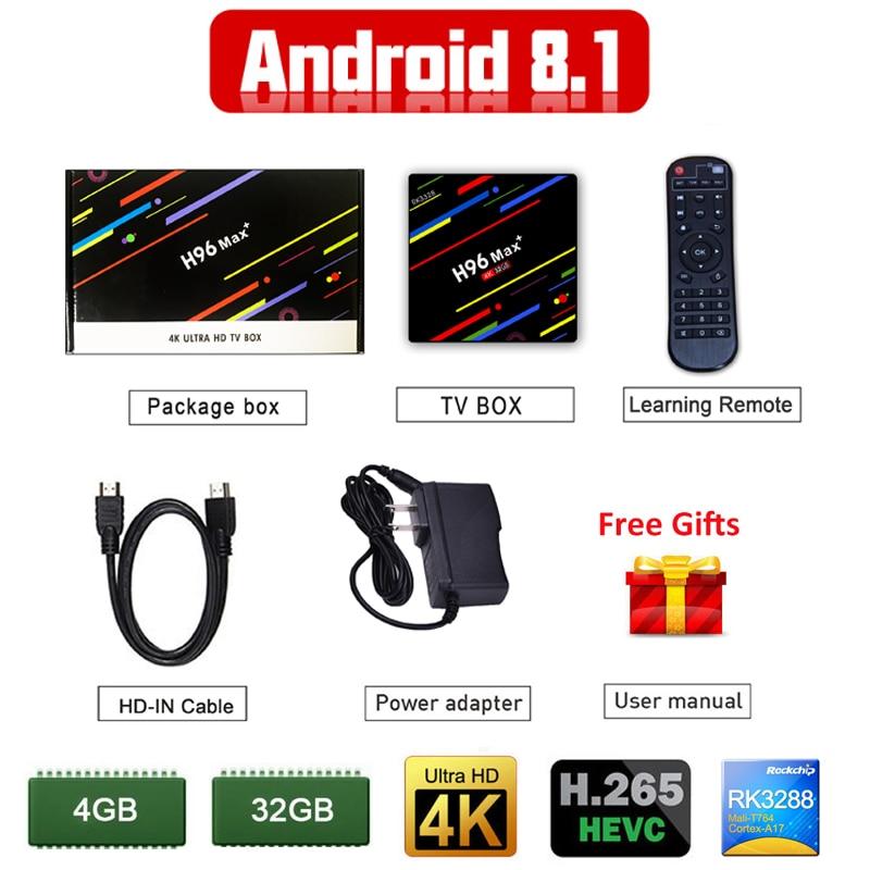 H96 MAX Plus + TV Box Android 8.1 4 GB 32 GB RK3328 tvbox Quad Core VP9 WiFi Media Player h96 Pro Android 8.1 Intelligente Set-Top Box TV