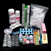 GRACEFUL 22Acrylic Nail Art Tips Powder Liquid Brush Glitter Clipper Primer File polishing block Nail glitter glue Set Kit NOV3