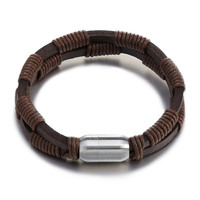 Fashion Jewelry Bracelets Bangles Thicker Domineering Double Layer Leather Braided Stainless Steel Magnetic Buckle Men