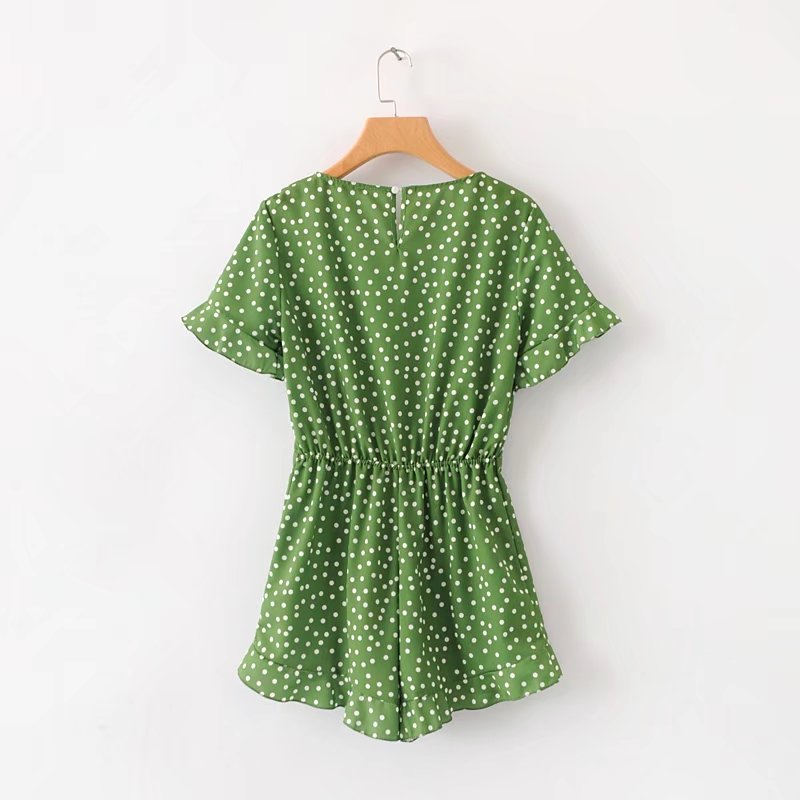 Sweet Dot Printed Short Playsuit For Women Girls Green Summer Beach Wear Pleated Elastic Waist Slim Romper Jumpsuit V Neck 2018