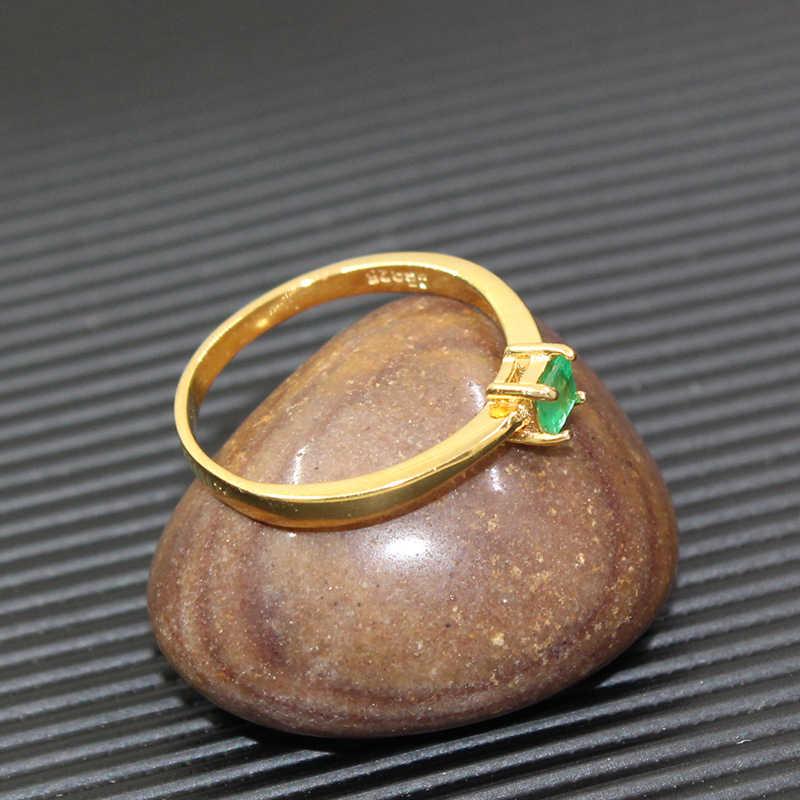 פשוט כסף אמרלד טבעת לחתונה SI כיתה 3 mm * 3 mm הטבעי אמרלד כסף טבעת מוצק 925 סטרלינג כסף חן טבעת