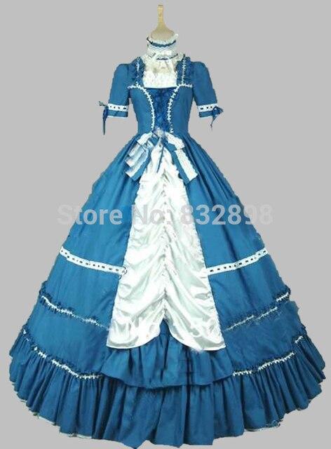 New Blue Victorian Dress Halloween Dress Gothic Lolita