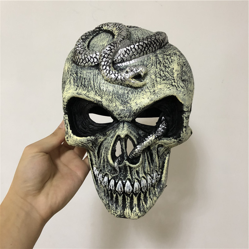 Halloween Cosplay Mask Prop Scary Skeleton Snake Mask Silver 1:1 PU Movie Game Anime Cos Kids Role Play Gift Safety PU
