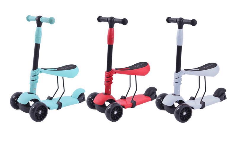 Le plus récent!!! le scooter de roue de flash des enfants peut être assis le scooter trois-en-un glissant pour le marcheur réglable de garçons et de filles