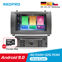 4GRAM Android 9.0 9.1 Car DVD Stereo Player For Peugeot 407 2004 2010 GPS Navigation WiFi Bluetooth Car Multimedia Video Audio