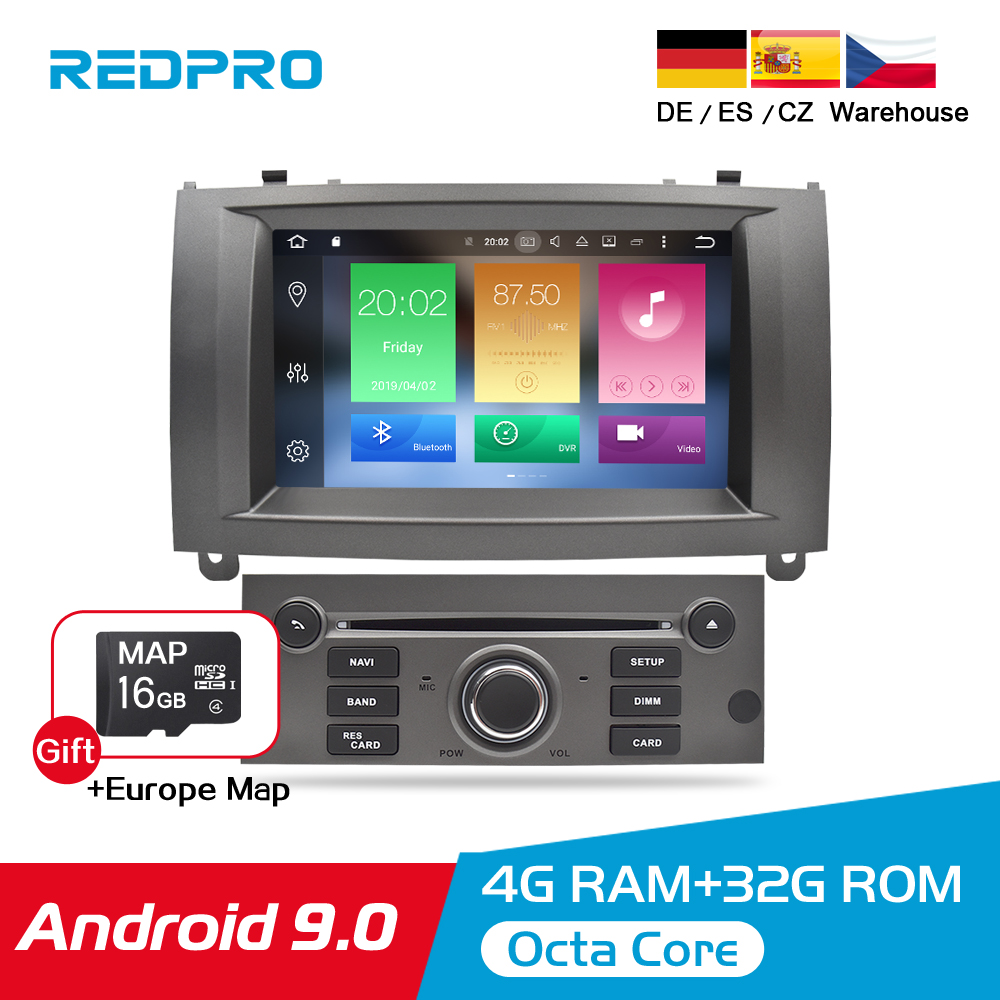 4GRAM Android 9.0 9.1 Estéreo Do Carro DVD Player Para Peugeot 407 2004-2010 Carro de Navegação GPS Bluetooth Wi-fi multimídia De Áudio E Vídeo