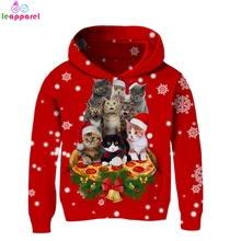 Baby Girls Christmas Clothes Boys Christams Hoodies Sweatshirts 2019 Pizza Cat 3D Hoody Tops Long Sleeve Autumn Kids Hooded 13T