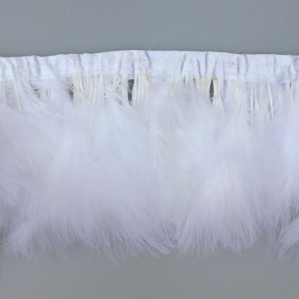 Leading Supplier in China Factory 10 Meters White color Marabou Turkey Fluff Feather Fringe Trims for