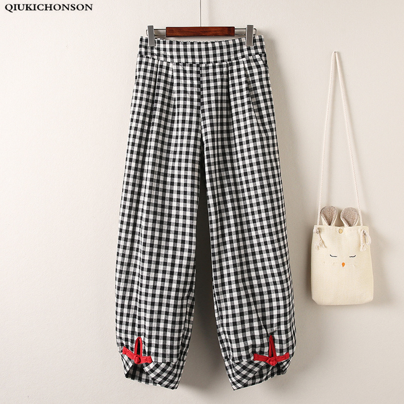 Qiukichonson Plus Size 5xl Summer Baggy Pants Women Korean Chic Wide Leg Pants Vintage Ankle Length Elastic Waist Plaid Pants