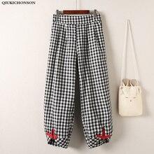 Qiukichonson Plus Size 5XL Summer Baggy Pants Women Korean Chic Wide Leg Pants Vintage Ankle Length Elastic Waist Plaid Pants недорого