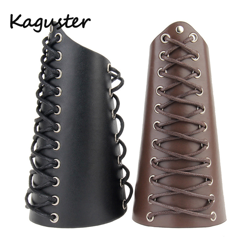 1Pcs X Leather Cuff Bracer Arm Armor Cuff Cross Strings Gothic Cosplay Wristbands Bracer Strings Punk Armband Medieval Cuff