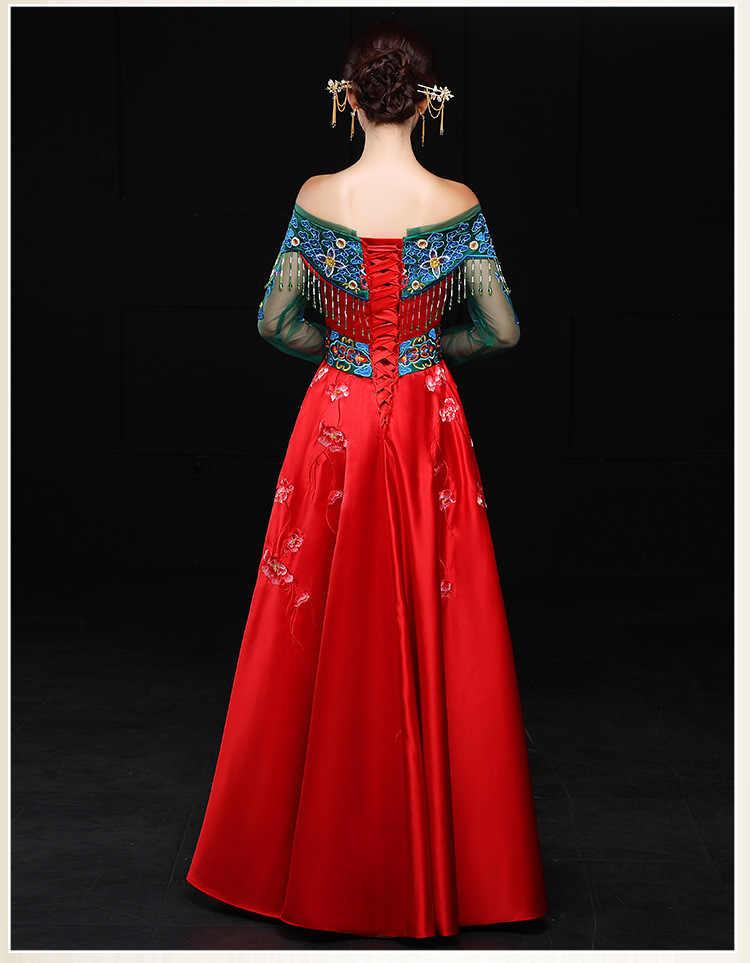 """אביב מסורתית להראות הכלה נשוי חליפות חתונה בסגנון סיני נשי לבוש רשמי שמלת ערב cheongsam קימונו בחו""""ל"""