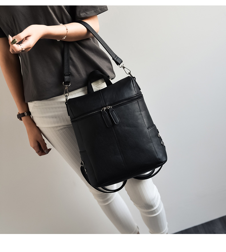 HTB1S1K2aZrrK1RjSspaq6AREXXaH Simple Style Backpack Women Leather Backpacks For Teenage Girls School Bags Fashion Vintage Solid Black Shoulder Bag Youth XA568