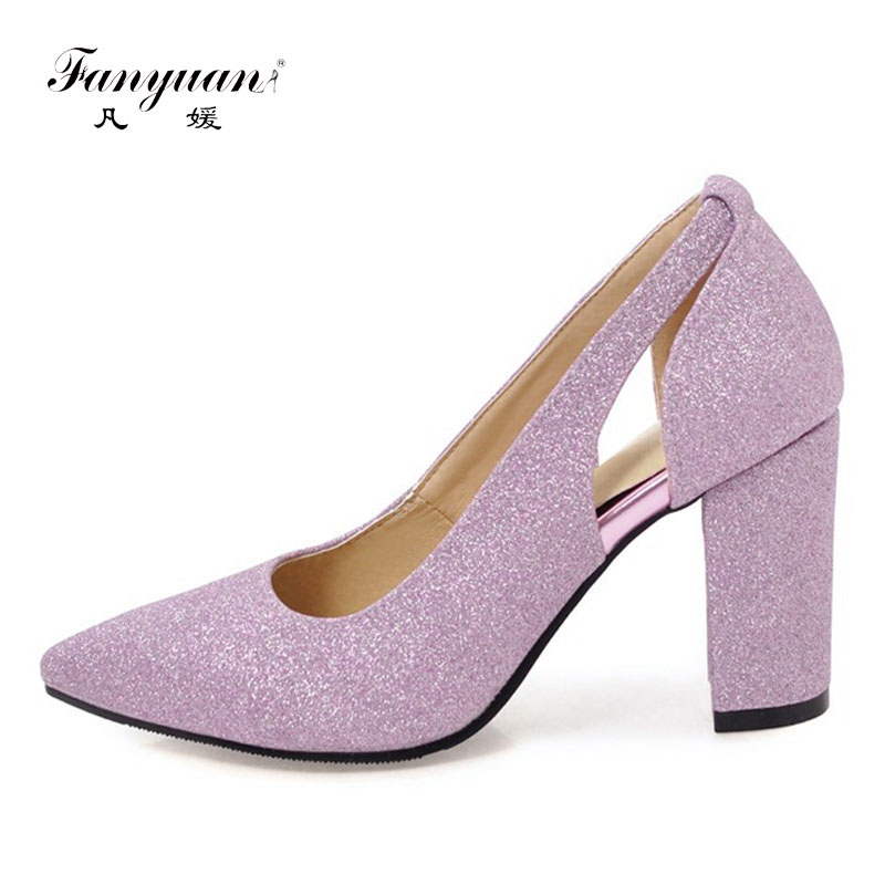 Fanyuan Women High Heels 2018 Sexy Openwork Woman Shoes Pumps Silver Gold Bling Pointed Toe Glitter